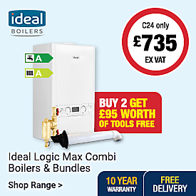 Ideal Logic Max Combi Boilers. Buy 2 get £95 worth of tools