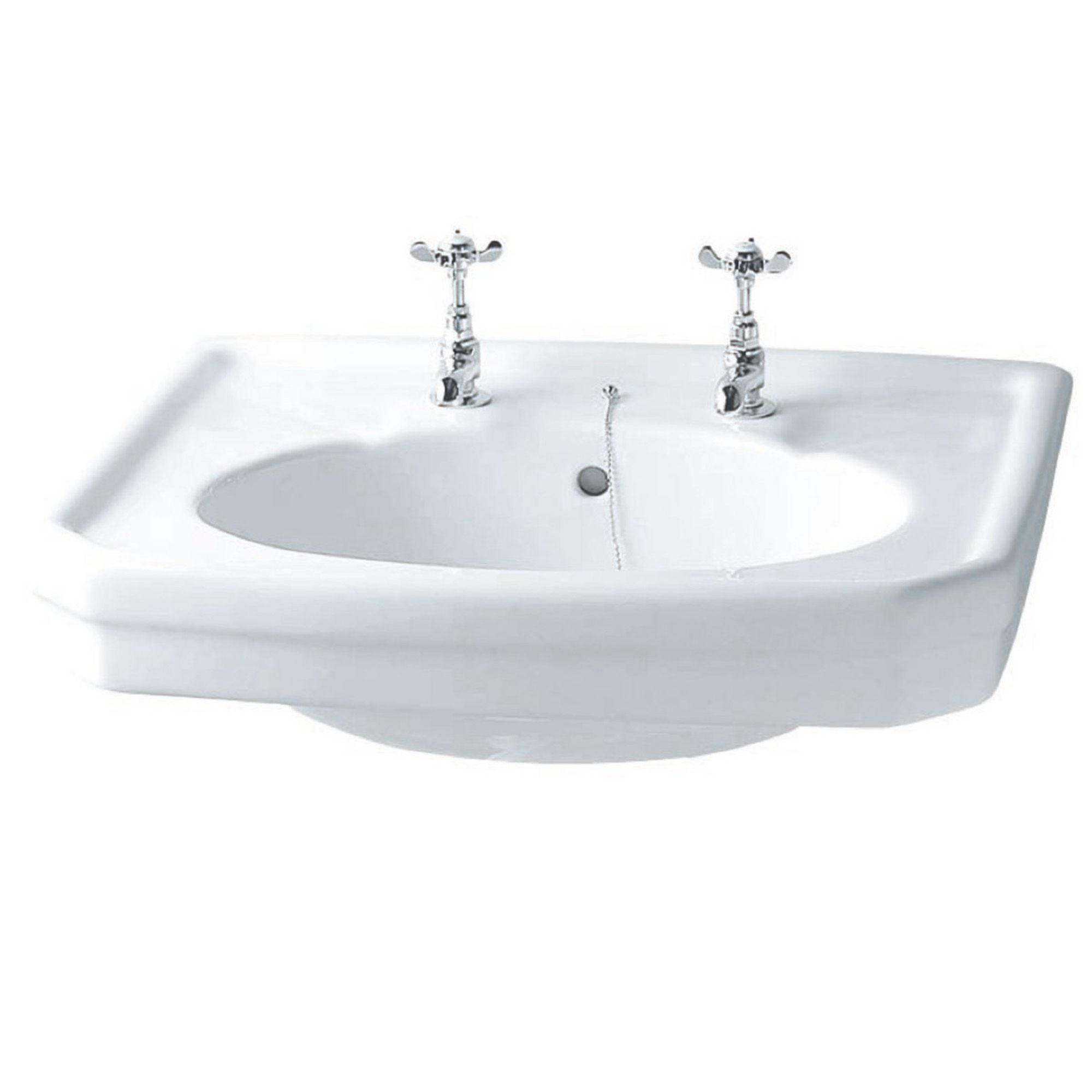 Bathroom Sink 500 X 400 iflo herita basin 500 x 400 mm 2 tap hole | city plumbing supplies