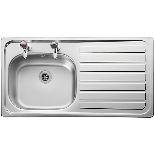 Leisure Lexin 2 Tap Hole 1 Bowl Rhd Inset Stainless Steel LN95R ...