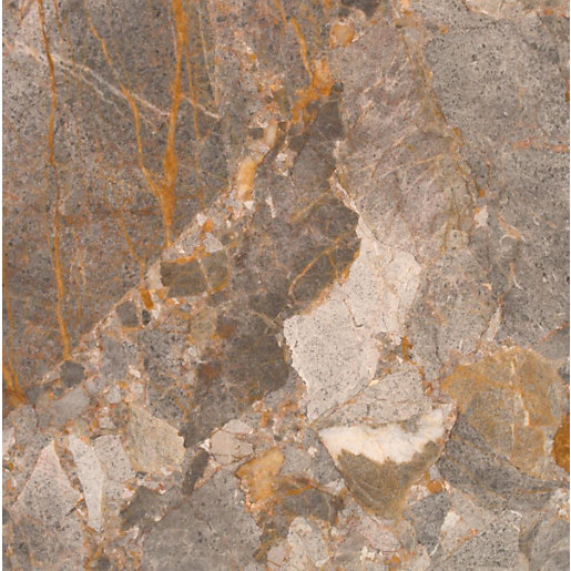 Esha 680051 Lemon Marble Floor Tile Dark Grey/Orange ... Batuan Marmer