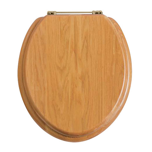 Heritage Oak Toilet Seat With Vintage Gold Hinges FOA City - Gold plated toilet seat