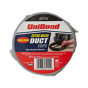 UniBond Cloth Tape 50mm x 50m Silver Twin Pack