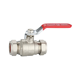 Plumbright 22mm Lever Ball Valve Cxc Red Handle