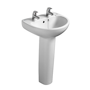 Ideal Standard Studio 50cm washbasin, 2 tapholes, with overflow and chainstay hole White E113001