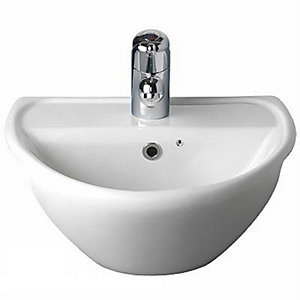 Twyford Sola Optimise Semi Recessed Basin 450 mm 1 Tap Hole SA4621WH