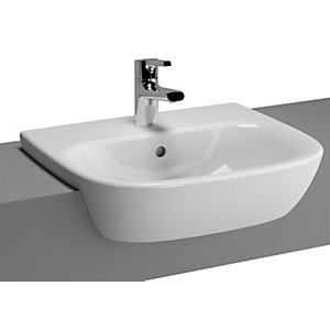 Vitra Zentrum Semi Recessed Basin 500 x 440 mm 1 Tap Hole 5635B003-0001