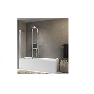 Novellini Aurora 2 Hinged Bath Shower Screen 1500 x 1200 mm AURORAN2-1K