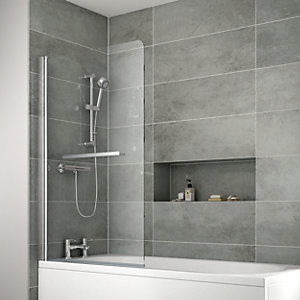 iflo Edessa Single Panel Bath Screen with Towel Rail 1400 x 910 mm