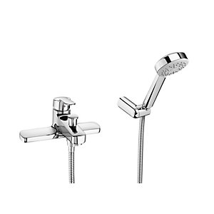 Roca Victoria V2 Deck Mounted Bath Shower Mixer Tap and Kit Chrome