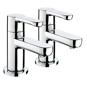 Bristan NR 3/4 C Nero 3/4 Bath Pillar Taps (Pair) Chrome