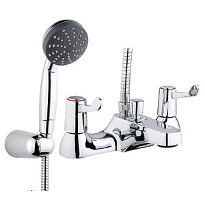 iflo Lever Deck Mounted Bath Shower Mixer Tap Brass
