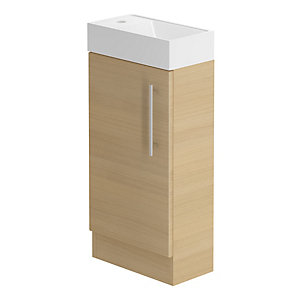 Be Modern 400mm Form Floorstanding Hand Basin Unit Light Oak