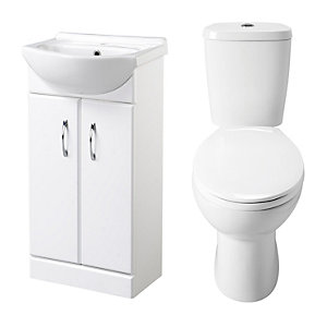 Ceramic White Vanity Bathroom WC and Basin Unit Set 5450 mm