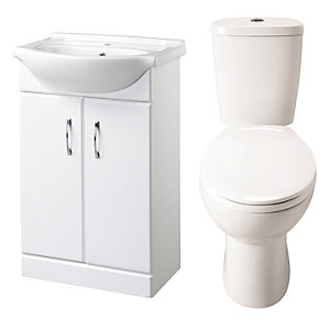 Ceramic White Vanity Bathroom WC and Basin Unit Set 560 mm