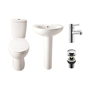 Round Toilet and Basin Cloakroom Suite
