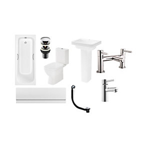 Square Toilet Basin and Bath Suite