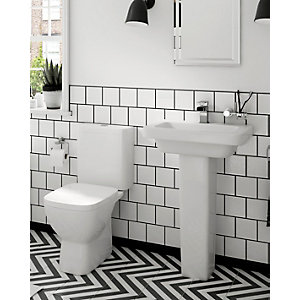 Square Toilet and Basin Cloakroom Suite