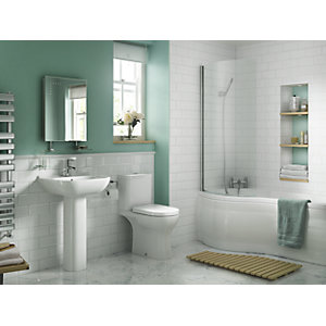 iflo Rhea Bathroom WC Toilet and Wash Basin 5 Piece White Suite