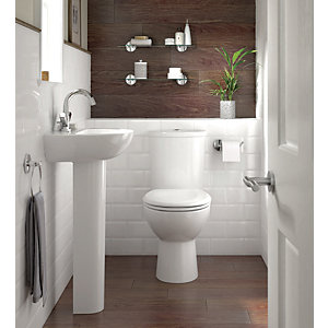 Iflo Cascada Cloakroom Toilet & Basin Suite 1 Tap Hole (with Soft Close Seat)