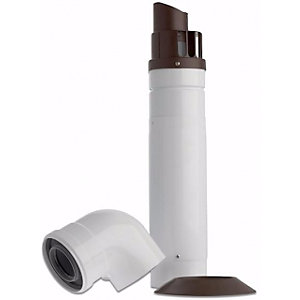 Baxi Multifit Telescopic Horizontal Boiler Flue Including Low Profile Bend 60mm/100mm White 720599401