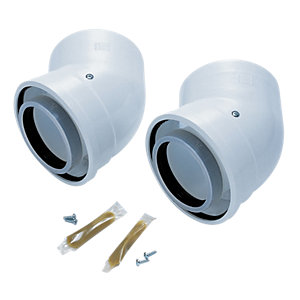 Worcester Bosch Greenstar Oilfit 45 Degree Boiler Flue Elbow 80mm/125mm 7716190035 - 2 Pack