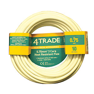 4TRADE 0.75mm² 3 Core Heat Resistant Flexible Cable 3093Y White 10m