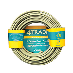 4TRADE 1.5mm² 3 Core & Earth Cable 6243Y Grey 10m