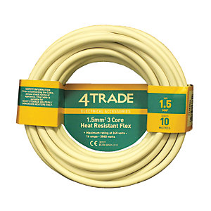 4TRADE 1.5mm² 3 Core Heat Resistant Flexible Cable 3093Y White 10m
