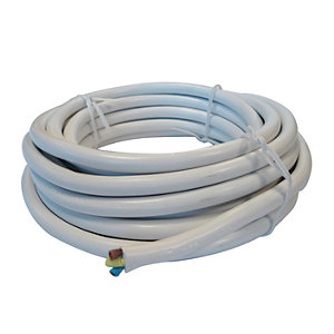 4TRADE 1.5mm² 3 Core Round Flex 3183Y White 5m