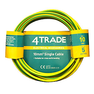 4TRADE 10.0mm² Single Core Conduit Wiring 6491 x    Green/Yellow 5m