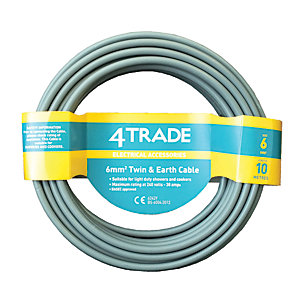 4TRADE 6.0mm² Twin & Earth Cable 6242Y Grey 10m