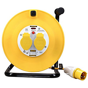 Masterplug LVCT5016/2 110V 50m 16A 2 Gang Cable Reel with Thermal Cutout