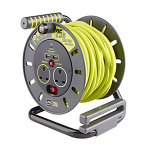 Masterplug OMU25132USL-PX Pro-xt 240V 13A 25m 2 Gang Electrical Cable Reel with 2 USB Charging Ports, Thermal Cut Out and Safety Reset