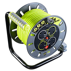 Masterplug OMU25134SL-PX Pro-xt 240V 13A 25m 4 Gang Electrical Cable Reel with Safety Thermal Cut Out and Reset