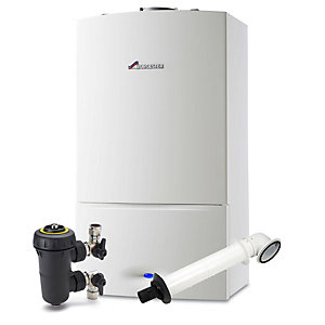 Worcester Greenstar 30kW SI Compact Gas Combi Boiler ERP & Horizontal Flue with Filter Pack