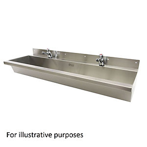 Acorn Powell 305-2400-C-S Wash Trough Wall Mounted 2400 Centre Waste 1 Tap Hole Per User Stainless Steel