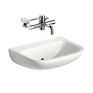 Armitage Shanks Contour 21 back outlet washbasin, 50cm, no tapholes, no overflow, no chainstay hole White S215401