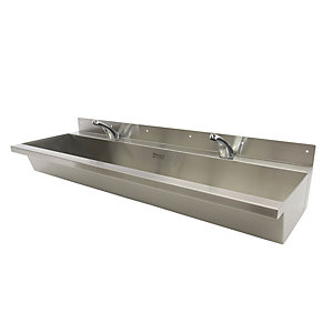 Acorn Powell 305-1200-C-S Wash Trough Wall Mounted 1200 Centre Waste 1 Tap Hole Per User Stainless Steel