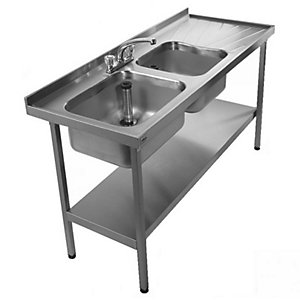 Acorn Thorn Catering Sink 2400X600 Double Basin Double Drainer + Stand + Shelf Ss 851