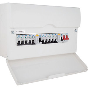 Bg CFDP16610-01 10 Way Populated Consumer Unit with 100A Switch & 2 x 63A 30mA RCD, 10 x  MCBs