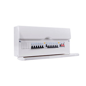 Bg CFDP16616-01 16 Way Populated Consumer Unit with 100A Switch & 2 x 63A 30mA RCD,12 x  6 x  MCBs