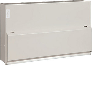 Hager VML766H Design 10 Metal Consumer Unit 12 Way Split Load 6+6 100A Switch 2*63A 30mA RCCB