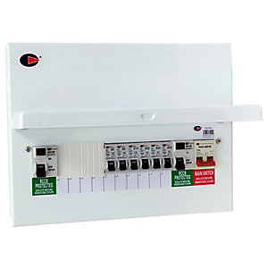 Lewden QFS-PM10 10 Way Flexible Dual RCD High Integrity Metalclad Consumer Unit with 6 MCB's