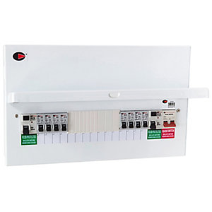 Lewden QFS-PM14 15 Way Flexible Dual RCD High Integrity Metalclad Consumer Unit with 8 MCB's