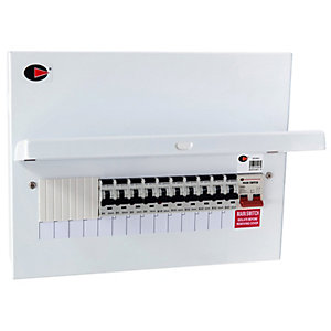 Lewden QFS-PR14 14 Way 100A Switch Disconnector Metalclad Consumer Unit with 10 RCBO's