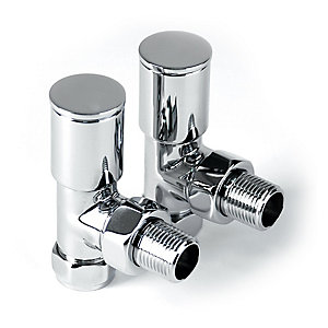 PlumbRight Pair of Angled Decorative Radiator Valves - 15mm