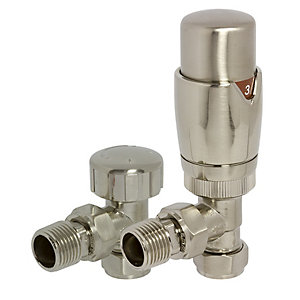 Towelrads Brushed Nickel Round Angled TRV and Lockshield Valves 105mm x 65mm