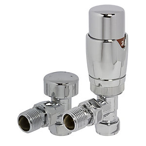 Towelrads Chrome Round Angled TRV and Lock Shield Valves 105mm x 65mm