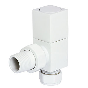 Towelrads White Square Angled Valves 105mm x 65mm