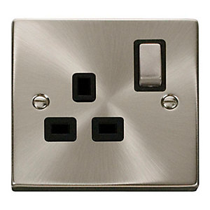 Click VPSC535BK 13A Ingot 1 Gang Double Pole Switched Socket - Black - Satin Chrome